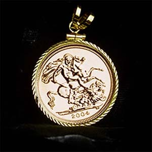 Horse coin jewelry gold bullion half sovereign storge slaying the dragon set on a carnelian bead necklace 15mm appx 23 inch gold bullion sovereign with storge aloadofball Image collections