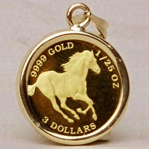 Horse coin jewelry 12 inch 125 ounce tuvalu running horse gold coin set in 14k gold on a black pearl necklace aloadofball Choice Image